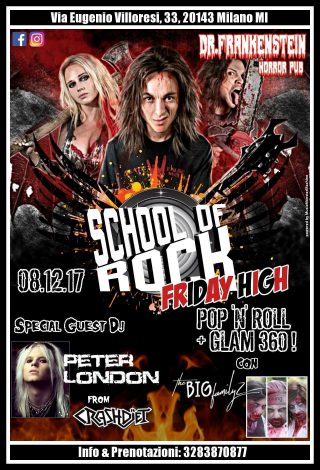 A Milano nasce School Of Rock Friday High Peter London dei Crashdïet ospite l'8 Dicembre!