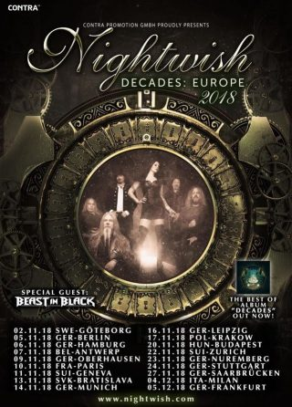 NIGHTWISH annunciano i BEAST IN BLACK come special guest del tour europeo!